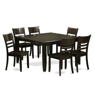 PFLY7-CAP-LC Cappuccino Rubberwood Dinette Table with Leaf and 6 Kitchen Dining Chairs (Pack of 7)