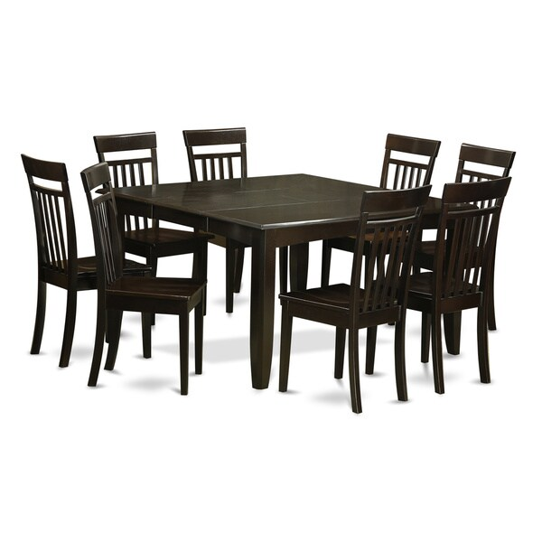 9 Piece Cuccino Brown Rubberwood Dining Room Set