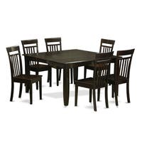 PFCA7-CAP Cappuccino Rubberwood Dinette Table with Leaf and 6 Dining Chairs (Pack of 7)