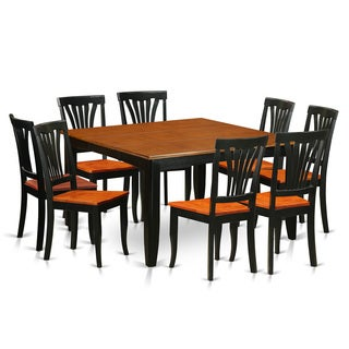 PFAV9-BCH Black/Cherry Rubberwood Dining Table with 8 Chairs
