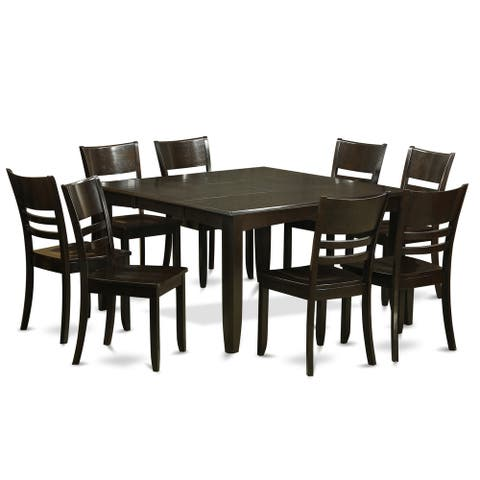PFLY9-CAP Espresso Rubberwood 9-piece Dining Room Table Set