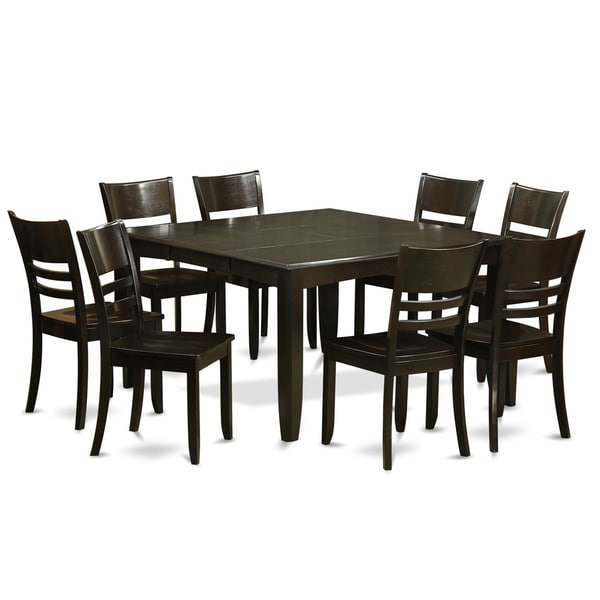 Napa 9 Piece Dark Cherry Finish Formal Dining Room Table: PFLY9-CAP Black Rubberwood 9-piece Dining Room Table Set