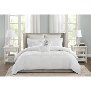 Echo Design Crete White Cotton 3-piece Duvet Cover Set