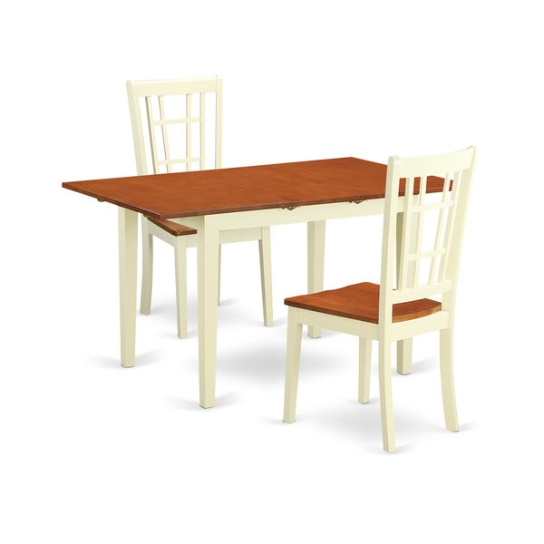 Cherry Cream Finish Rubberwood Dining Table With 2 Chairs