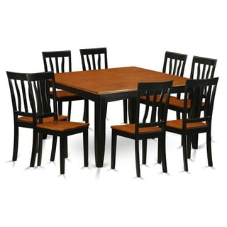 PFAN9-BCH Black/Cherry Rubberwood Dining Table and 8 Chairs (Pack of 9)
