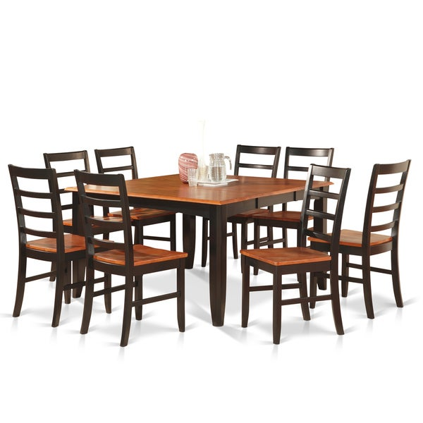 Black/Cherry Finish Rubberwood Dining Table With 8 Dining Chairs
