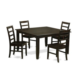 PARF5-CAP Cappuccino Rubberwood Dining Table and 4 Kitchen Chairs (Pack of 5) (Option: 3)