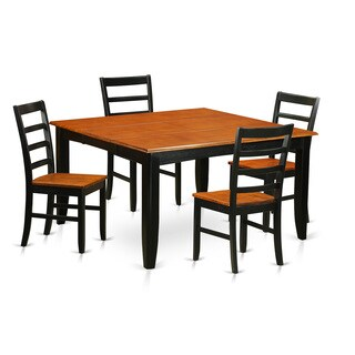 PARF5-BLK Black/Brown Rubberwood 5-piece Dining Set With Leaf
