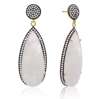 14k Yellow Gold Over Sterling Silver 32ct Pear Shape Moonstone and Cubic Zirconia Dangle Earrings