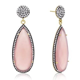14k Yellow Gold Over Sterling Silver 32ct Pear Shape Rose Quartz and Cubic Zirconia Dangle Earrings