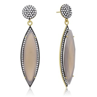 56 TGW Marquise Shape Gray Moonstone and CZ Dangle Earrings In Yellow Gold Over Sterling Silver