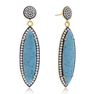 14k Yellow Gold Over Sterling Silver 56ct Marquise Shape Turquoise and Cubic Zirconia Dangle Earring