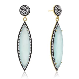 14k Yellow Gold Over Sterling Silver 56ct Marquise Shape Green Chalcedony and Cubic Zirconia Dangle
