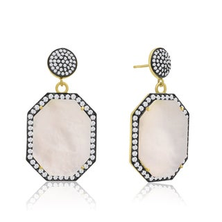 14k Yellow Gold Over Sterling Silver 79ct Octagon Shape Mother of Pearl and Cubic Zirconia Dangle Ea