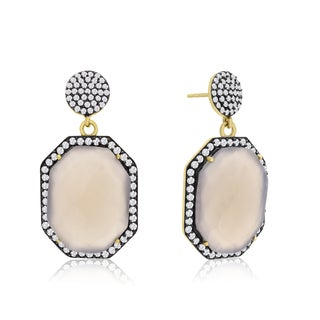 14k Yellow Gold Over Sterling Silver 79ct Octagon Shape Gray Moonstone and Cubic Zirconia Dangle Ear