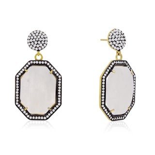 14k Yellow Gold Over Sterling Silver 79ct Octagon Shape Moonstone and Cubic Zirconia Dangle Earrings
