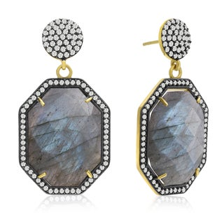 79 TGW Octagon Shape Labradorite and CZ Dangle Earrings In Yellow Gold Over Sterling Silver