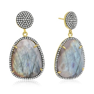 86 TGW Free Form Labradorite and CZ Dangle Earrings In Yellow Gold Over Sterling Silver