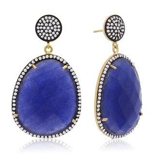 86 TGW Free Form Blue Sapphire and CZ Dangle Earrings In Yellow Gold Over Sterling Silver