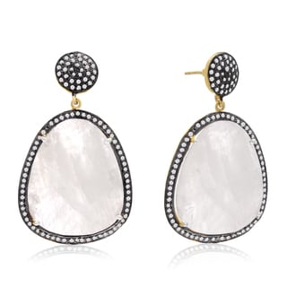 14k Yellow Gold Over Sterling Silver 86ct Free Form Moonstone and Cubic Zirconia Dangle Earrings