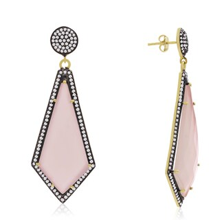 14k Yellow Gold Over Sterling Silver 45ct Diamond Shape Rose Quartz and Cubic Zirconia Dangle Earrin