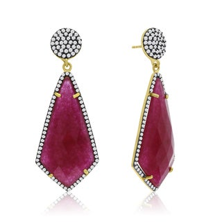 14k Yellow Gold Over Sterling Silver 45ct Diamond Shape Ruby and Cubic Zirconia Dangle Earrings