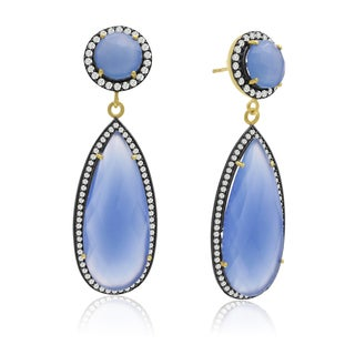 14k Yellow Gold Over Sterling Silver 64ct Pear Shape Blue Chalcedony and Cubic Zirconia Halo Dangle