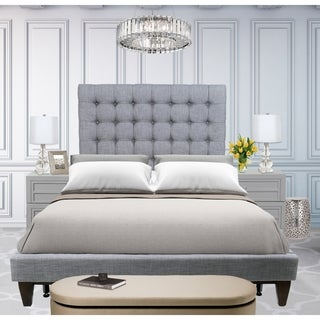 Chic Home Beethoven Grey Linen Button-tufted Bed Frame