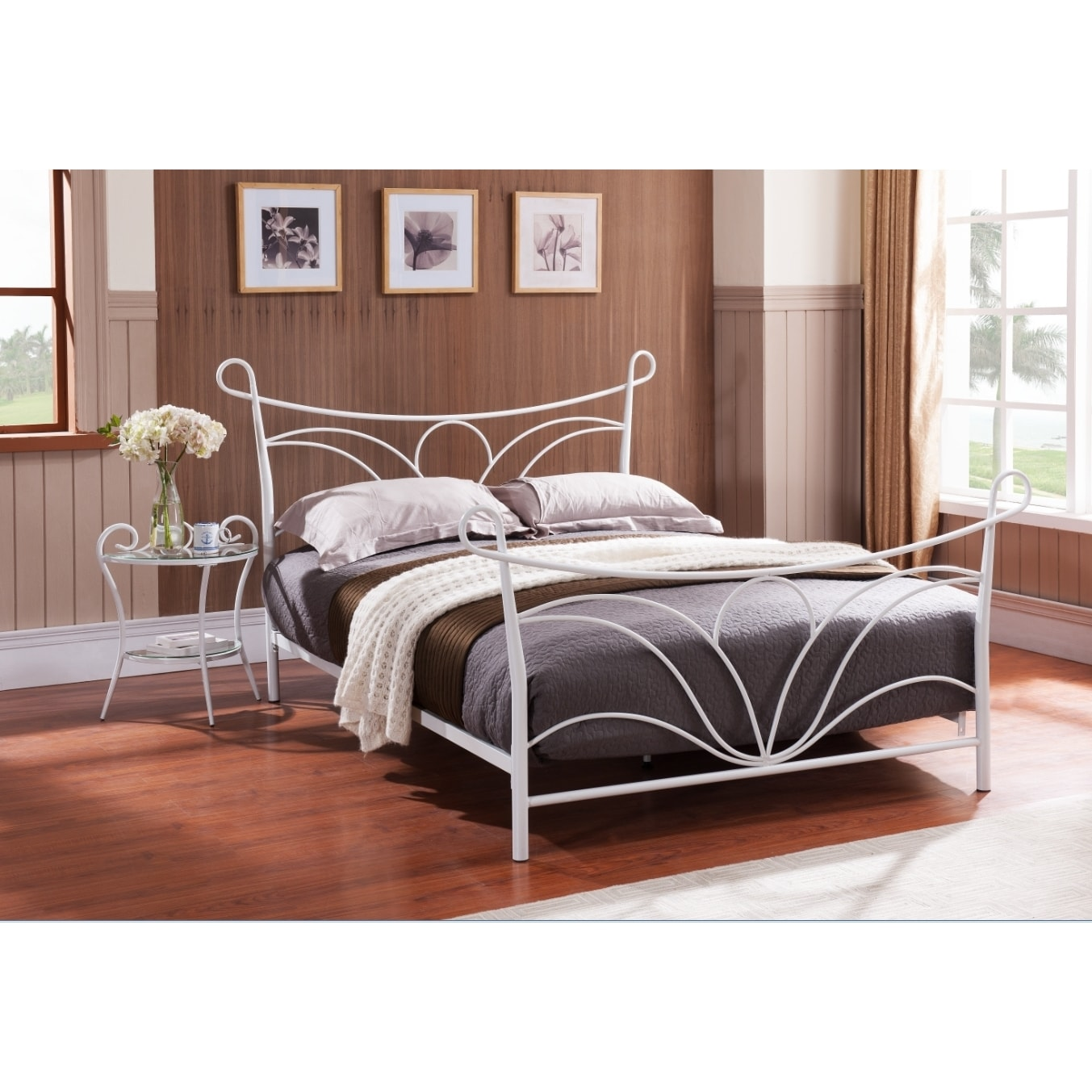 K&B BD69/1418 Queen-size Metal Bed With Headboard/Footboa...