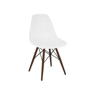 Trige White Mid Century Side Chair with Walnut Base (Set of 2)