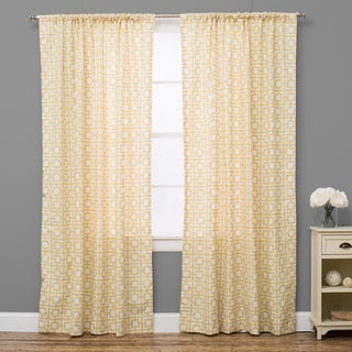 Geo Yellow Cotton Curtain Panel