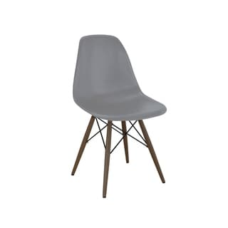 Trige Dark Grey Mid Century Side Chair with Walnut Base (Set of 2)