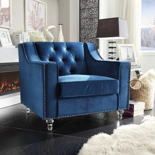 Chic Home Dylan Blue Velvet Button-tufted, Silver Nailhead Trimmed Club Chair with Round Acrylic Feet