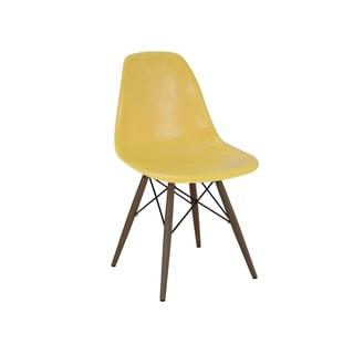 Trige Dark Olive Yellow Polypropylene Mid-century Side Chairs with Walnut Wood Base (Set of 2)