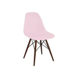 Trige Baby Pink Mid Century Side Chair Walnut Base (Set of 2)