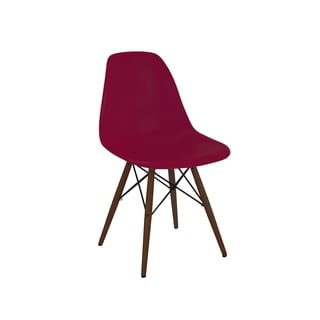 Trige Claret Wine Red Mid Century Dining Chair with Walnut Base (Set of 2)