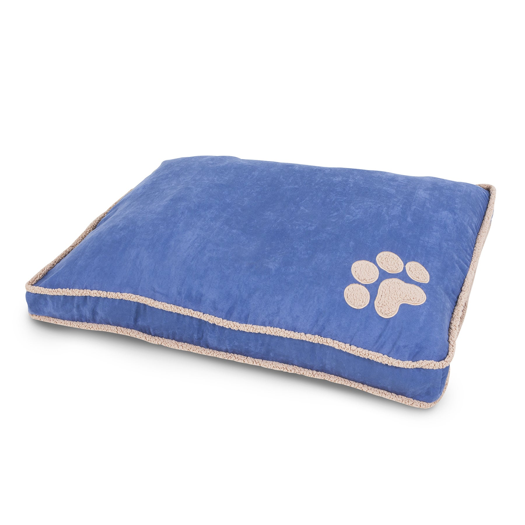 Aspen Pet Shearling Gusseted Pillow Dog Bed (Blue - Large)