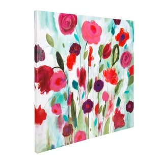 'Happy Garden' Oversized Hand Painted Green/Pink Canvas Art
