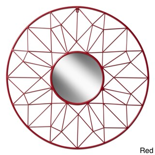 Round Metal Geometric Wall Mirror (Option: Red)