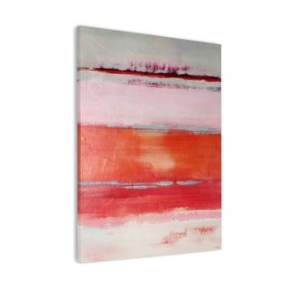 Abstract Coral, Pink, and White with Gel-coated Finish Canvas Art