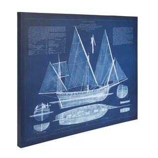 'Antique Ship Blueprint' Unframed Blue Canvas Art