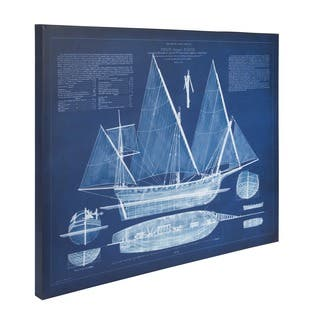 'Antique Ship Blueprint' Unframed Blue Canvas Art