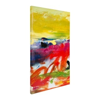 'Air Apparent' Yellow and Multicolored Hand-painted Finish Canvas Art