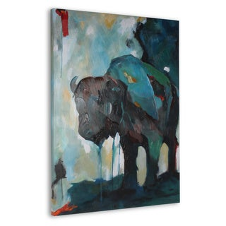 Watercolor Buffalo Navy Blue with Hand Painting Canvas Art