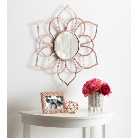 "Kate and Laurel Brienne Metal Flower Round Mirror - 24"" Diameter"