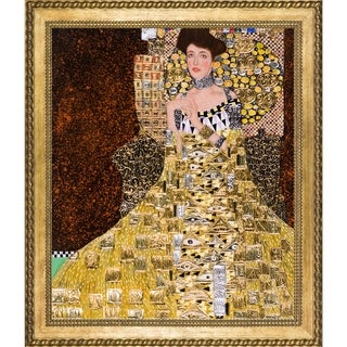 Gustav Klimt 'Portrait of Adele Bloch Bauer I' Luxury Line Hand Painted Framed Canvas Art