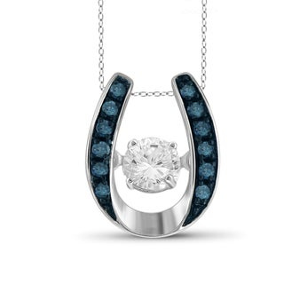 Jewelonfire 10k White Gold 1/5ct TDW Blue Diamond Horseshoe Pendant