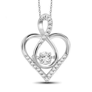 Jewelonfire 10k White Gold 1/5ct TDW White Diamond Infinity Heart Pendant