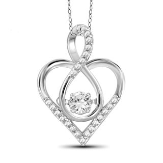 Jewelonfire 10k White Gold 1/5ct TDW White Diamond Infinity Heart Pendant