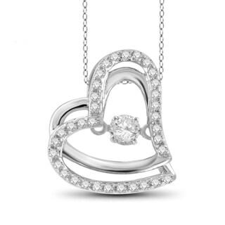 Jewelonfire 1/4ct TDW White Diamond 10k White Gold Fancy Heart Pendant